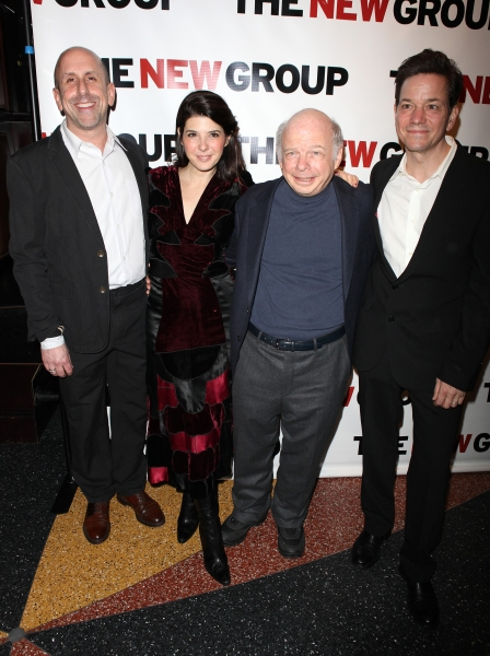 Scott Elliott, Marisa Tomei, Wallace Shawn and Frank Whaley attending the Off-Broadway Opening Night Party for The New Group Revival of Wallace Shawn's 'Marie And Bruce' in New York City.