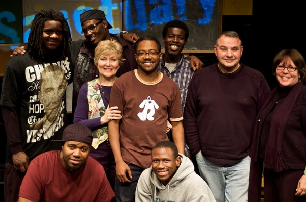 Alonzo Jackson, Deron Simmons, Abingdon Theatre Artistic Director Jan Buttram, Al Letson, Biko Misabiko, director Rob Urbinati, and Sanctuary on 8th Street Executive Director Vicky Watkins; (left-right, bottom row) DJ Willie Evans, Jr., and Keith Mack