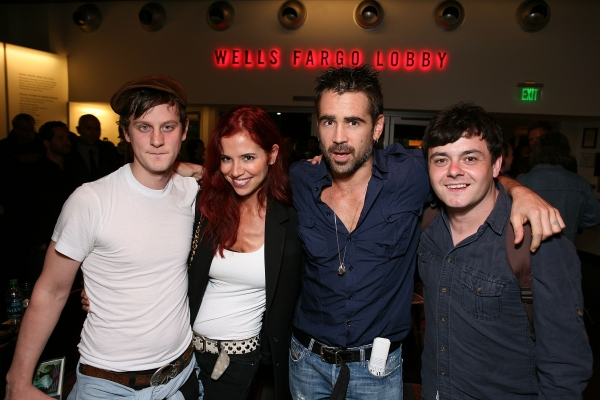 """LOS ANGELES, CA - APRIL 6: (L-R) Cast member Tadhg Murphy, Claudine Farrell, actor Colin Farrell and cast member Laurence Kinlan pose during the party for the opening night performance of """"The Cripple of Inishmaan"""" at Center Theatre Group's Kirk Douglas T"""