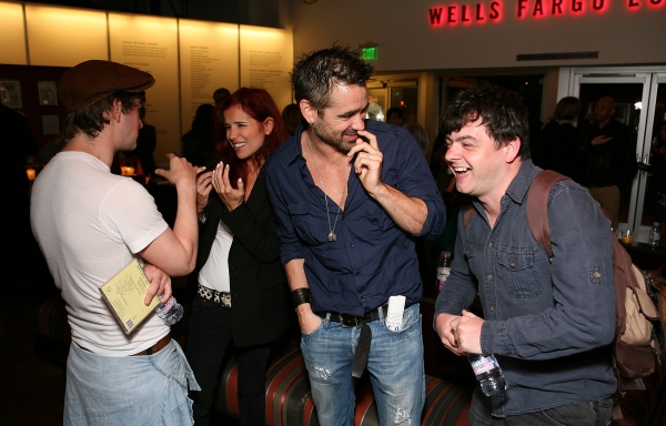 LOS ANGELES, CA - APRIL 6: (L-R) Cast member Tadhg Murphy, Claudine Farrell, actor Colin Farrell and cast member Laurence Kinlan talk during the party for the opening night performance of 'The Cripple of Inishmaan' at Center Theatre Group's Kirk Douglas T at Colin Farrell Attends CRIPPLE OF INISHMAAN Opening