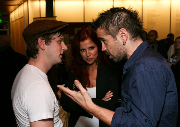 "LOS ANGELES, CA - APRIL 6: (L-R) Cast member Tadhg Murphy, Claudine Farrell and actor Colin Farrell talk during the party for the opening night performance of ""The Cripple of Inishmaan"" at Center Theatre Group's Kirk Douglas Theatre on April 6, 2011 in Cu"