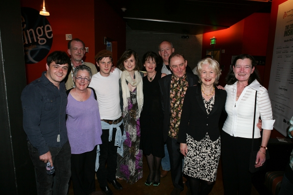 LOS ANGELES, CA - APRIL 6: (L-R) The full cast Laurence Kinlan, Liam Carney (Back), Director Garry Hynes (Front), Tadhg Murphy, Clare Dunne, Ingrid Craigie, Paul Vincent O'Connor, Dermot Crowley, Dearbhla Molloy and Nancy E. Carroll pose during the party