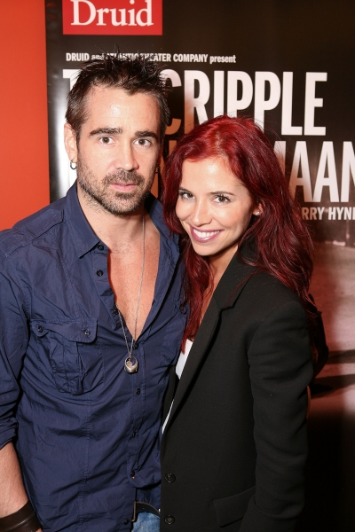 "LOS ANGELES, CA - APRIL 6: Colin Farrell (L) and sister Claudine Farrell (R) pose during the party for the opening night performance of ""The Cripple of Inishmaan"" at Center Theatre Group's Kirk Douglas Theatre on April 6, 2011 in Culver City, Califo"