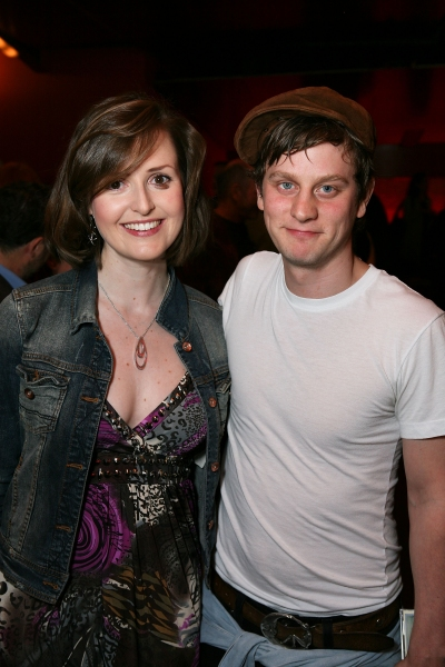 "LOS ANGELES, CA - APRIL 6: Cast members Clare Dunne (L) and Tadhg Murphy (R) pose during the party for the opening night performance of ""The Cripple of Inishmaan"" at Center Theatre Group's Kirk Douglas Theatre on April 6, 2011 in Culver City, California."
