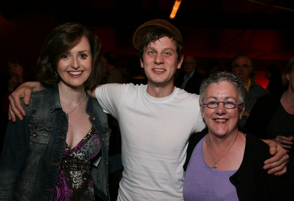 "LOS ANGELES, CA - APRIL 6: (L-R) Cast members Clare Dunne, Tadhg Murphy and Director Garry Hynes pose during the party for the opening night performance of ""The Cripple of Inishmaan"" at Center Theatre Group's Kirk Douglas Theatre on April 6, 2011 in Culve"