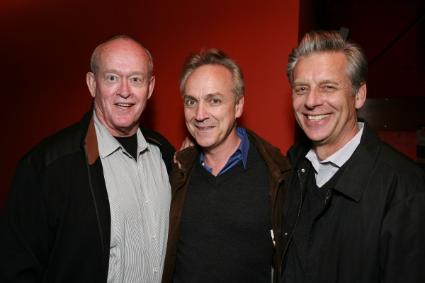 "LOS ANGELES, CA - APRIL 6: (L-R) Cast member Paul Vincent O'Connor, actor Joe Pacheco and CTG Artistic Director Michael Ritchie pose during the party for the opening night performance of ""The Cripple of Inishmaan"" at Center Theatre Group's Kirk Douglas Th"