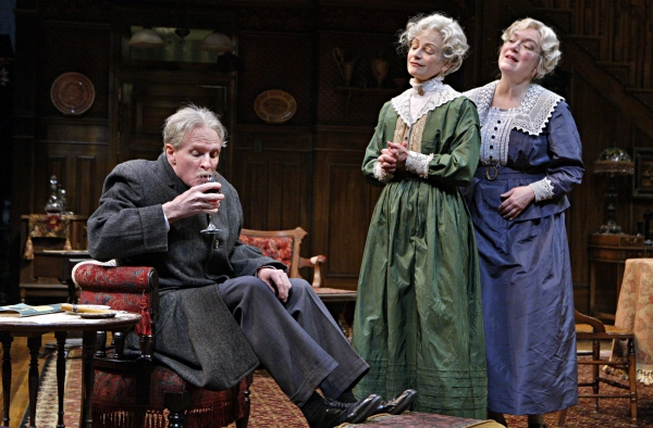 Nathaniel Fuller (Mr. Witherspoon), Sally Wingert (Martha Brewster) and Kristine Nielsen (Abby Brewster) in the Guthrie Theater production of ARSENIC AND OLD LACE by Joseph Kesselring. Directed by Joe Dowling, set design by John Lee Beatty, costume desig