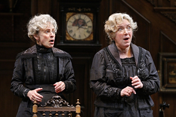 Sally Wingert (Martha Brewster) and Kristine Nielsen (Abby Brewster) in the Guthrie Theater production of ARSENIC AND OLD LACE by Joseph Kesselring. Directed by Joe Dowling, set design by John Lee Beatty, costume design by Christine A. Richardson, lighti