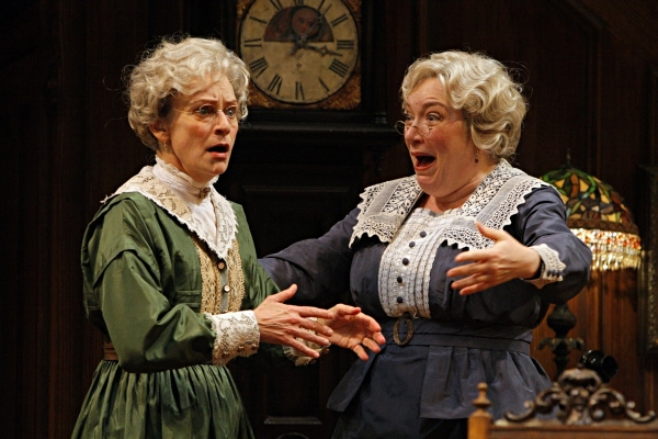Sally Wingert (Martha Brewster) and Kristine Nielsen (Abby Brewster) in the Guthrie Theater production of ARSENIC AND OLD LACE by Joseph Kesselring.  Directed by Joe Dowling, set design by John Lee Beatty, costume design by Christine A. Richardson, lighti at ARSENIC AND OLD LACE Plays the Guthrie