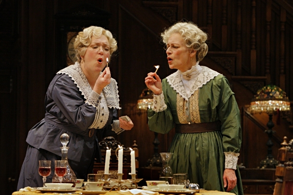 Kristine Nielsen (Abby Brewster) and Sally Wingert (Martha Brewster) in the Guthrie Theater production of ARSENIC AND OLD LACE by Joseph Kesselring. Directed by Joe Dowling, set design by John Lee Beatty, costume design by Christine A. Richardson, lighti