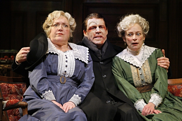 Kristine Nielsen (Abby Brewster), Tyson Forbes (Jonathan Brewster) and Sally Wingert (Martha Brewster) in the Guthrie Theater production of ARSENIC AND OLD LACE by Joseph Kesselring. Directed by Joe Dowling, set design by John Lee Beatty, costume design