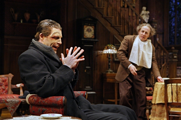 Tyson Forbes (Jonathan Brewster) and  Kris L. Nelson (Dr. Einstein) in the Guthrie Theater production of ARSENIC AND OLD LACE by Joseph Kesselring.  Directed by Joe Dowling, set design by John Lee Beatty, costume design by Christine A. Richardson, lightin