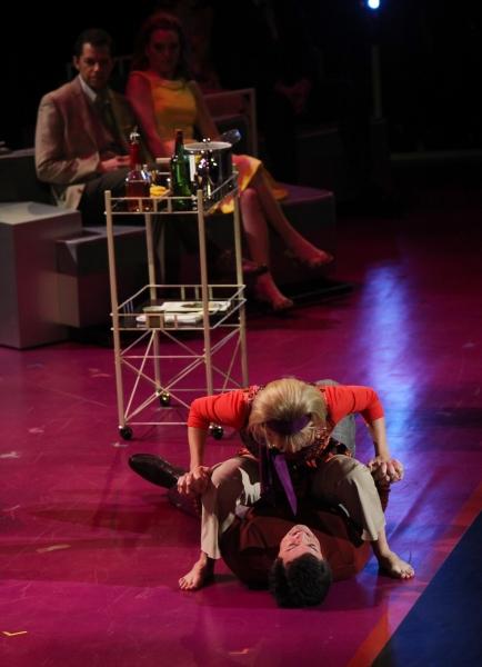 Stephen Colbert & Martha Plimpton performing in the New York Philharmonic presentation of Stephen Sondheim's 'Company', A Spring Gala Benefit  in New York City.