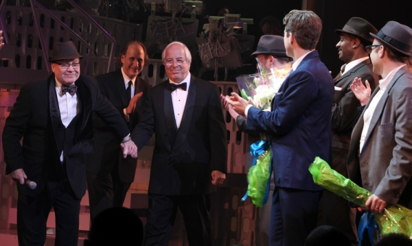 Jack O'Brien & Frank Abagnale Jr.  during the Broadway Opening Night Curtain Call for 'Catch Me If You Can' in New York City.