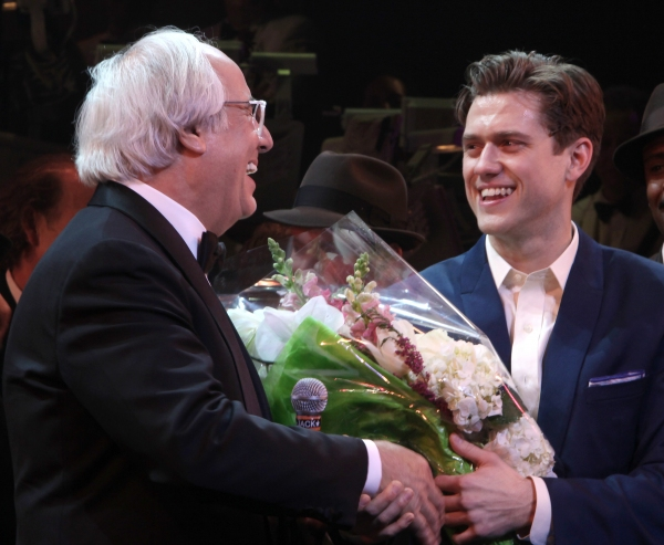 Frank Abagnale Jr. & Aaron Tveit during the Broadway Opening Night Curtain Call for 'Catch Me If You Can' in New York City.