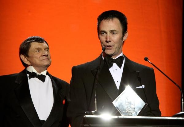 Johnny Thompson presents Lance Burton with a Masters Fellowship Award
