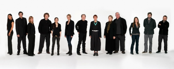The Old Globe cast of August: Osage County Ñ (from left) Kimberly Guerrero, Robert Maffia, Kelly McAndrew, Joseph Adams, Ronete Levenson, Angela Reed, Robert Foxworth, Lois Markle, Robin Pearson Rose, Guy Boyd, Carla Harting, Haynes Thigpen and Todd Cer