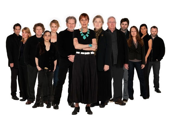 The Old Globe cast of August: Osage County Ñ (from left) Robert Maffia, Kelly McAndrew, Joseph Adams, Ronete Levenson, Angela Reed, Robert Foxworth, Lois Markle, Robin Pearson Rose, Guy Boyd, Haynes Thigpen, Carla Harting, Kimberly Guerrero and Todd Cer