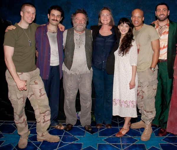 Brad Fleischer, Arian Moayed, Robin Williams, Cherry Jones, Sheila Vand, Glenn Davis, and Hrach Titizian at Cherry Jones Visits BENGAL TIGER