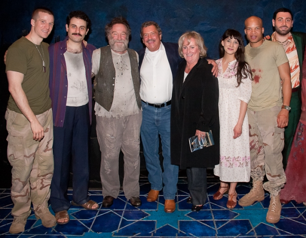 Brad Fleischer, Arian Moayed, Robin Williams, Sheila Vand, Glenn Davis, and Hrach Titizian with BCEFA Auction Winners at Cherry Jones Visits BENGAL TIGER