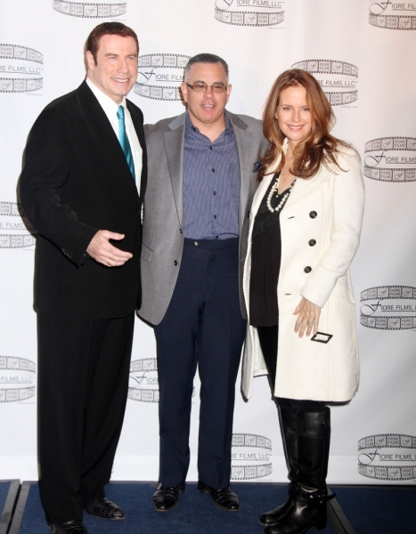 John Travolta, John Gotti Jr. and Kelly Preston at Travolta Promotes GOTTI Film in New York City