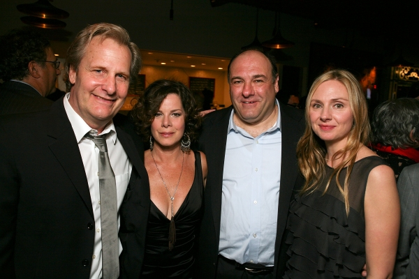 """LOS ANGELES, CA - APRIL 13: Cast members Jeff Daniels, Marcia Gay Harden, James Gandolfini and Hope Davis pose at the party for the opening night performance of """"God of Carnage"""" at Center Theatre Group's Ahmanson Theatre on April 13, 2011 in Los Angeles,"""