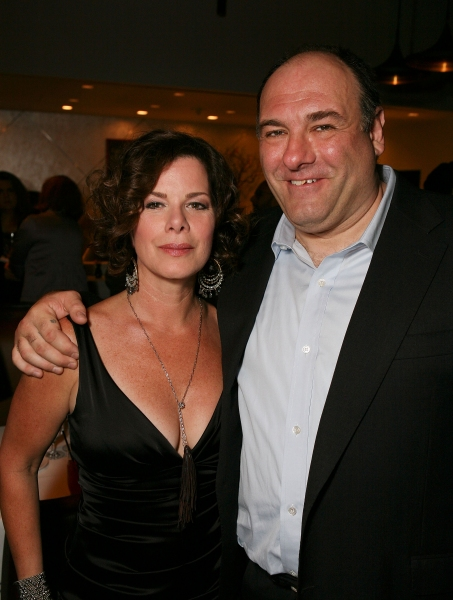 """LOS ANGELES, CA - APRIL 13: Cast members Marcia Gay Harden (L) and James Gandolfini (R) pose at the party for the opening night performance of """"God of Carnage"""" at Center Theatre Group's Ahmanson Theatre on April 13, 2011 in Los Angeles, California. (Photo"""