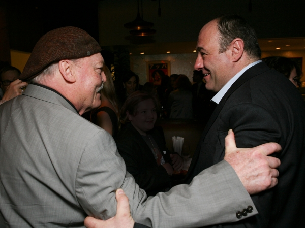 """LOS ANGELES, CA - APRIL 13: Stacy Keach (L) and cast member James Gandolfini (R) greet at the party for the opening night performance of """"God of Carnage"""" at Center Theatre Group's Ahmanson Theatre on April 13, 2011 in Los Angeles, California. (Photo"""