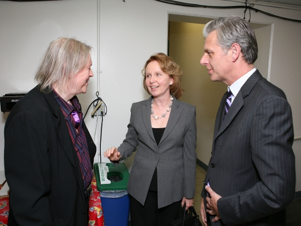 "LOS ANGELES, CA - APRIL 13: (L-R) Translator Christopher Hampton, actress Kate Burton and CTG Artistic Director Michael Ritchie talk backstage after the opening night performance of ""God of Carnage"" at Center Theatre Group's Ahmanson Theatre on April 13,"