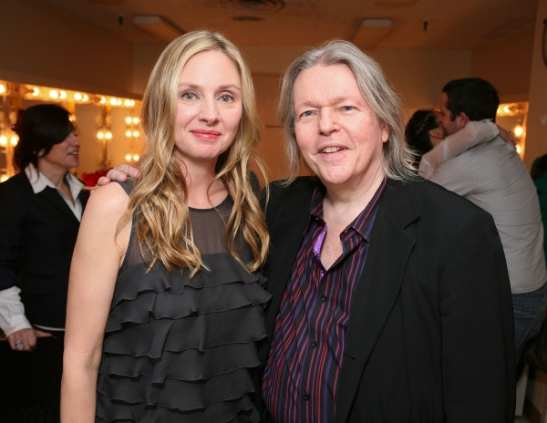 "LOS ANGELES, CA - APRIL 13: Cast member Hope Davis (R) and translator Christopher Hampton (R) pose backstage after the opening night performance of ""God of Carnage"" at Center Theatre Group's Ahmanson Theatre on April 13, 2011 in Los Angeles, California. ("