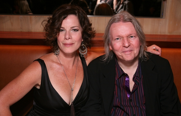 "LOS ANGELES, CA - APRIL 13: Cast member Marcia Gay Harden (L) and Translator Christopher Hampton (R) pose at the party for the opening night performance of ""God of Carnage"" at Center Theatre Group's Ahmanson Theatre on April 13, 2011 in Los Angeles, Calif"