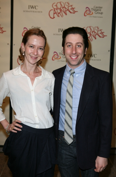 "LOS ANGELES, CA - APRIL 13: Actors Jocelyn Towne (L) and Simon Helberg (R) pose during the arrivals for the opening night performance of ""God of Carnage"" at Center Theatre Group's Ahmanson Theatre on April 13, 2011 in Los Angeles, California. (Photo by Ry"