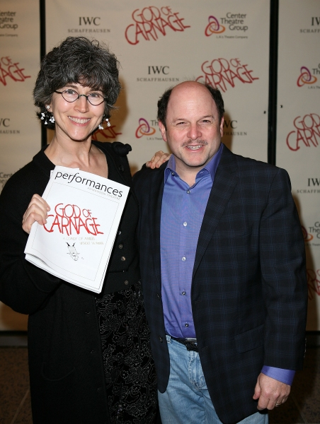 "LOS ANGELES, CA - APRIL 13: Daena Title (L) and actor Jason Alexander (R) pose during the arrivals for the opening night performance of ""God of Carnage"" at Center Theatre Group's Ahmanson Theatre on April 13, 2011 in Los Angeles, California. (Photo by Rya"