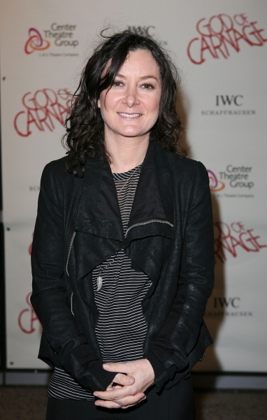 "LOS ANGELES, CA - APRIL 13: Sara Gilbert poses during the arrivals for the opening night performance of ""God of Carnage"" at Center Theatre Group's Ahmanson Theatre on April 13, 2011 in Los Angeles, California. (Photo by Ryan Miller/Capture Imaging"