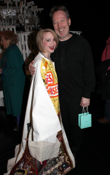 Joyce Chittick (Recipient -'ANYTHING GOES') with John McDaniel celebrating the Broadway Opening Night Gypsy Robe Ceremony for Recipient Jennifer Frankel of 'Catch Me If You Can' at the Neil Simon Theatre in New York City.