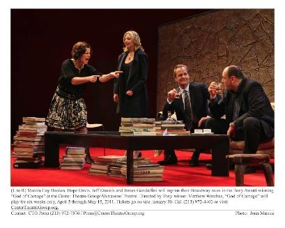 GOD OF CARNAGE By Yasmina Reza Directed by Matthew Warchus Bernard Jacobs Theatre (242 West 45 Street) Pictured (L-R), Marcia Gay Harden, Hope Davis, Jeff Daniels, James Gandolfini © 2009 Joan Marcus
