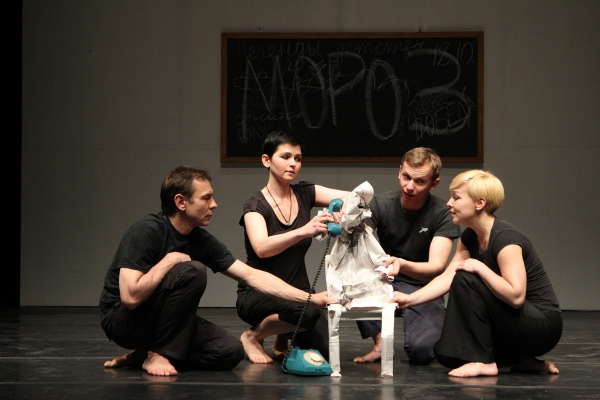 Oleg Sidorchik, Yana Rusakevich,  Pavel Gorodnitski, and Marina Yurevich in a scene from the Belarus Free Theatre production of  Zone of Silence playing in repertory through May 15 at La MaMa, a co-production with The Public Theater. Photo credit is Joan