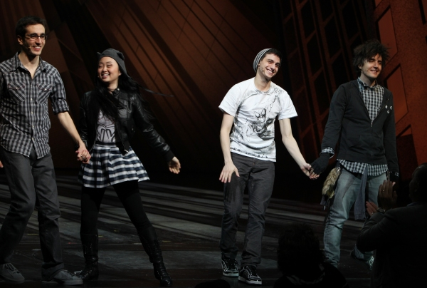 Geek Chorus: Jonathan Schwartz, Alice Lee, Gideon Glick & Matt Devine during the Final Curtain Call Bow for the Original Version of 'Spider-Man Turn Off The Dark'. The show takes a brief Hiatus before the New Version Debuts on5/12/2011 in New York City.