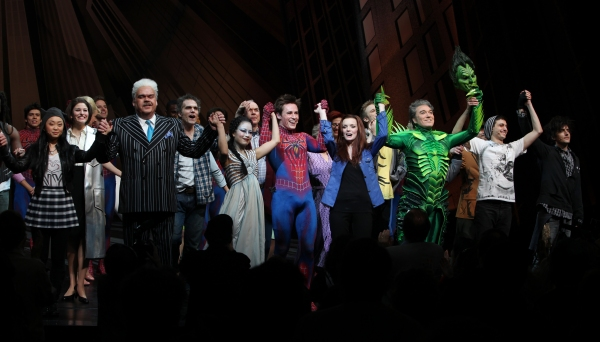 Ensemble featuring: Alice Lee, Michael Mulheren, Jeb Brown, T.V. Carpio, Ken Marks, Reeve Carney, Jennifer Damiano, Patrick Page, Gideon Glick & Matt Devine during the Final Curtain Call Bow for the Original Version of 'Spider-Man Turn Off The Dark'. The