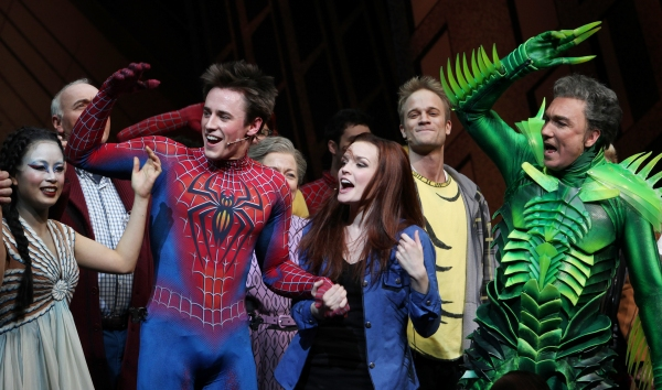 Ensemble featuring: T.V. Carpio, Ken Marks, Reeve Carney, Jennifer Damiano, Patrick Page during the Final Curtain Call Bow for the Original Version of 'Spider-Man Turn Off The Dark'. The show takes a brief Hiatus before the New Version Debuts on5/12/2011