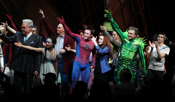 Ensemble featuring: Michael Mulheren, T.V. Carpio, Ken Marks, Reeve Carney, Jennifer Damiano, Patrick Page & Gideon Glick during the Final Curtain Call Bow for the Original Version of 'Spider-Man Turn Off The Dark'. The show takes a brief Hiatus before th