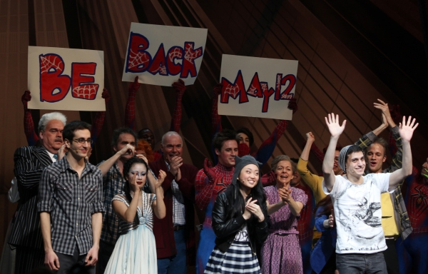Ensemble with: Michael Mulgeren, Jonathan Schwartz, Jeb Brown, T.V. Carpio, Ken Marks, Reeve Carney, Alice Lee, Isabel Keating, Jennifer Damiano & Gideon Glick during the Final Curtain Call Bow for the Original Version of 'Spider-Man Turn Off The Dark'. T
