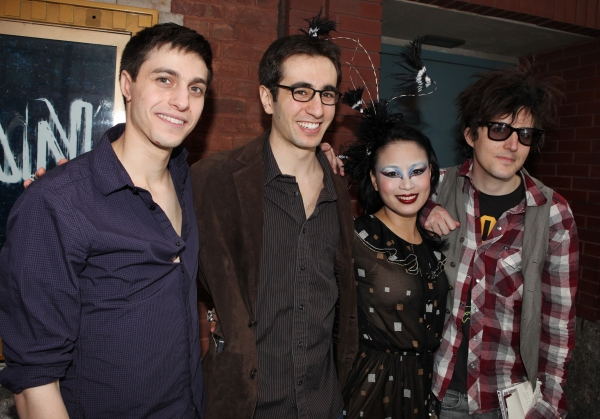The Geeks: Gideon Glick, Jonathan Schwartz, T.V. Carpio & Mat Devine meeting the Press after the Final Curtain Call Bow for the Original Version of 'Spider-Man Turn Off The Dark'.  in New York City.