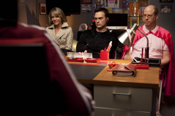 "Jane Lynch, L) recruits Terri (Jessalyn Gilsig, second from L), Dustin (guest star Cheyenne Jackson, third from L) and Sandy (guest star Stephen Tobolowsky, R) to destroy the glee club in the ""Night of Neglect"" episode of GLEE airing Tuesday, Ap"
