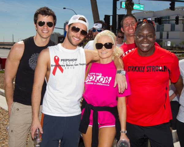 A guest, Josh Strickland, Holly Madison and Larry Edwards pictured at The AFAN 21st ANNUAL AIDS WALK LAS VEGAS at World Market Center in Las Vegas, NV on April 17, 2011. © RD/ Kabik/ Retna Digital