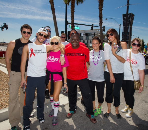 A guest, Josh Strickland, Holly Madison and Larry Edwards and 3 Strickland tema members pictured at The AFAN 21st ANNUAL AIDS WALK LAS VEGAS at World Market Center in Las Vegas, NV on April 17, 2011. © RD/ Kabik/ Retna Digital