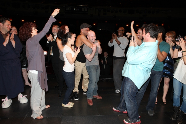 Grady McLeod Bowman with Edward Staudenmayer, Janet Dacal, Julius Anthony Rubio, Danny Stiles, Darren Ritchie & Company attending the 'Wonderland' Opening Night Gypsy Robe Ceremony Celebrating Recipient Grady McLeod Bowman in New York City.