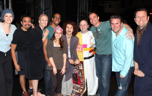 Grady McLeod Bowman withKate Shindle,  Jose Llana, Karen Mason, E. Clayton Cornelious, Carly Rose Sonenclar, Janet Dacal, Darren Ritchie,  Danny Stiles & Edward Staudenmayer attending the 'Wonderland' Opening Night Gypsy Robe Ceremony Celebrating Recipien