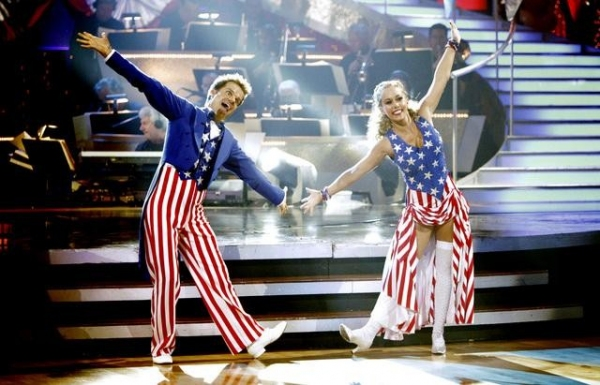 Louis Van Amstel, Kendra WilkinsonPetra Nemcova, Dmitry Chaplin at DANCING WITH THE STARS Gets Patriotic