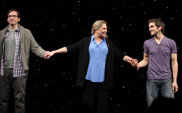 Stephen Kunken & Kathleen Turner & Evan Jonigeit attending the Broadway Opening Night Performance Curtain Call for 'High' in New York City.